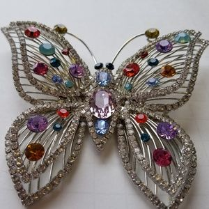 Butterfly Pin with multi colored rhinestones